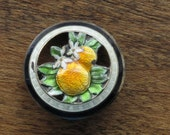 1920s Tiny Enamelled Oranges and Orange Blossoms Pin Brooch Sterling Silver
