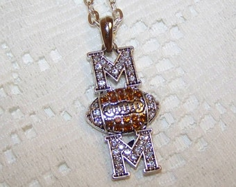 Football MOM Pendant - Silver - Coach - Sports - Rhinestone Mom - Rhinestone Football Necklace - Mom Gift - Football Mother - Sports Mom