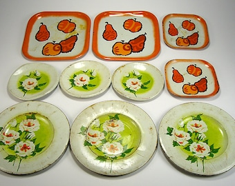 Assorted Tin Pretend Play Dishes Set of (10), Play Dishes, Children's Pretend, Doll Display