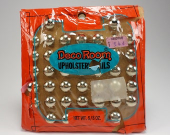 1973 Nickel Upholstery Nails, 42 Tacks, Deco Room, Retro Decor, Upholstery Supplies