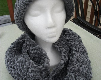 Crocheted Charcoal Gray Chenile Hat and Scarf