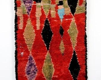 Red Sonja - vintage Azilal boucherouite rug