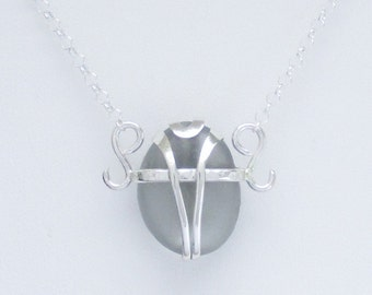 Sea Glass Jewelry - Sterling Caged Rare Gray Sea Glass Necklace