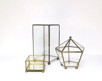 Vintage Brass and Glass Box, Metal and Glass Display Case, Geometric Shape, Polygon