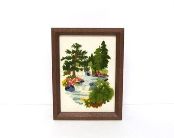 Embroidery Nature Scene, Waterfall Tall Trees and Flowers, Vintage Framed Crewel Embroidery