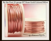 By the Foot 22 gauge Non Tarnish Rose Gold Colored  Wire - 100% Guarantee