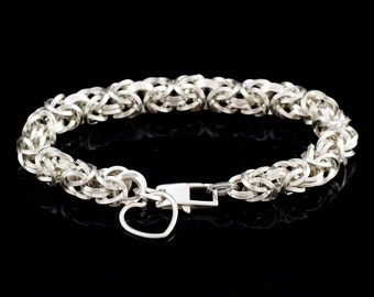Grand Square On Edge Sterling Silver Bracelet in Byzantine with Love