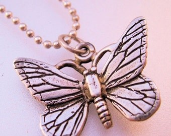 15% OFF SALE Vintage Butterfly Sterling Silver Pendant Charm Necklace Jewelry Jewellery