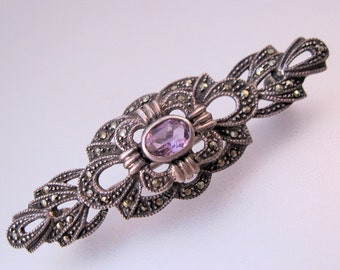 Art Deco Amethyst Marcasite Sterling Silver Bar Pin Vintage Jewelry Jewellery