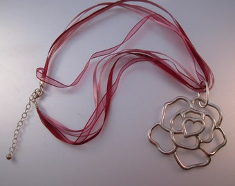 Rose & Heart Sterling Silver Pendant Necklace Signed NF with Pink Burgundy Ribbons Vintage Jewelry Jewellery