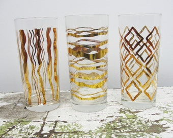 Vintage 16 oz Geometric gold pattern tumblers
