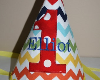 first birthday hat for boy, cake smash outfit, primary color small chevron, 1st birthday hat