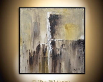 Framed Painting Large Original Painting 37 x 37 Modern Abstract Art Brown Taupe Beige Square Oil Painting Earth Tones by Bethany Sky Whitman