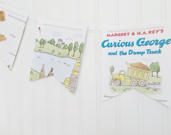 curious george book party decoration banner garland