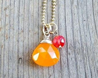 Juicy Necklace / 14k Goldfilled / Fanta Orange Chalcedony Pendant / Pink Watermelon Dangle