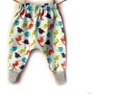 Baby Harem pants, trousers, in dinosaurs
