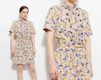Vintage 60s GEOMETRIC Cotton Dress Mod Retro Short Sleeve 1960s Op Art Belted Mini Dress Blue Tan Gold Medium Large M L