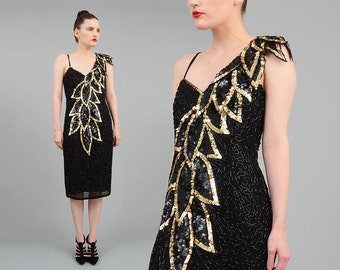 SALE 80s Black Silk Sequin Beaded Dress Metallic Gold Leaf Leaves 1980s One Shoulder Dress Wiggle Fitted Party Cocktail Dress Small S