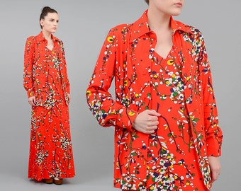 LESLIE J 70s Maxi Dress Set Red CHERRY BLOSSOM Floral Dress Boho Hippie Long Dress With Shirt Medium Large M L
