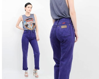 80s Purple WRANGLER Jeans Acid Wash Denim Skinny Jeans High Waist Cuffed Straight Leg Pants XS S