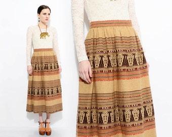 70s Tribal Ethnic Striped Skirt High Waist 1970s Wool Blanket Boho Hippie Midi Skirt Brown Tan Medium M