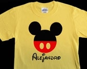 Personalized Disney Vacation Shirt - Personalized Mickey Mouse Shirt - Mickey Silhouette Shirt  - Choose Shirt Color