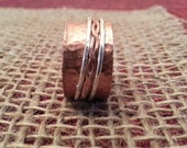 Copper Spinner Ring, Size 8, with Copper Twisted Spinner nested with 2 Sterling Silver Spinners, Reduce Worry and Anxiety