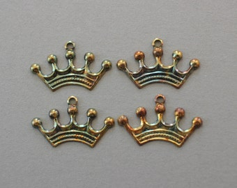 Oxidized Brass Crown Stampings Charms