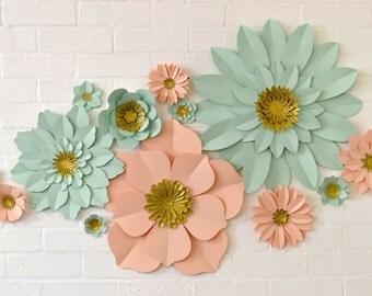 Handmade Glitter Centre Paper Flower Wall Display