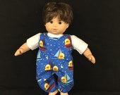 Doll Clothes For Bitty Baby Bitty Boy or Girl Twin or Some Other 15 Inch Dolls Little Ducks in Sailboats Overralls and Shirt