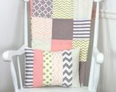 Baby Girl Blanket, Minky Blanket, Patchwork Blanket, Blush Pink Crib Bedding, Decor, Coral Pink, Blush Pink, Gray, Grey, Gold, Gold Nursery