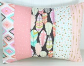 Nursery Pillow Cover, Patchwork Pillow Cover, Nursery Decor, 12 x 16 Inches, Coral, Blush Pink, Feathers, Gold, Tribal, Aztec, Arrows, Boho