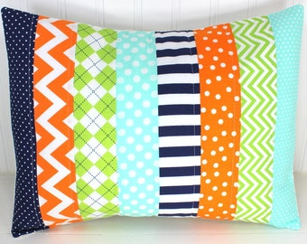 Pillow Cover, Patchwork Pillow Cover, Nursery Decor, Boy Nursery, Throw Pillow, 12 x 16 Inches, Orange, Navy Blue, Lime Green, Mint Green