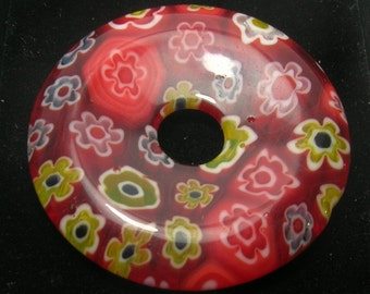 Large Red Glass Millefiori Donut Focal Bead