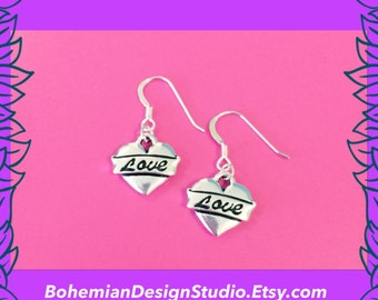 Love heart earrings, silver heart earrings, heart charm dangle earrings, gift for her, bohemian jewellery UK