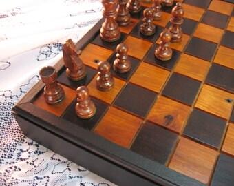 Black Cherry Chess Set From Reclaimed 1800's Barn Beams