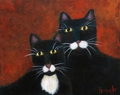 Original Cat Art, Tuxedo Cats. 12 x 10, Acrylic on Gallery-Wrapped Canvas.