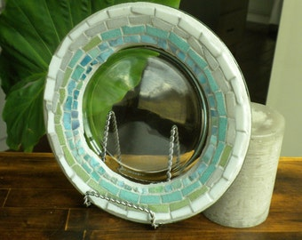 Mosaic Glass Candle Plate~ Ocean