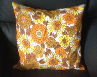 Vintage floral cushion cover . Made with original fabric from 1960s. Bright and cheery