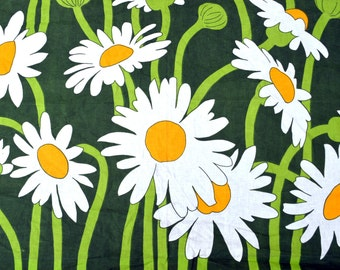 Vintage Cotton Floral Daisy Fabric - Margurite