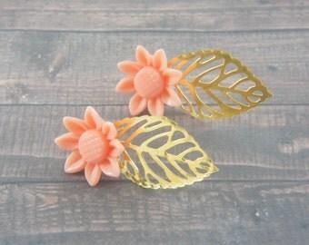 coral sunflower resin cabochon gold leaf ear jacket earrings, wedding, bridesmaids, old style, stud earrings, summer wedding