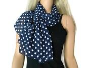 Navy and white Polka dot scarf- Long chiffon scarf -Parisian Neck Tissu-NavyBlue summer scarves