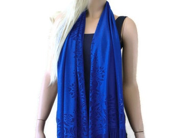Cobalt blue lace  scarf shawl -Cobalt blue lace fringe  scarf