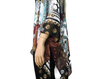 Boho Kimono cardigan - Chiffon patchwork print -Black,Burgundy,Salmon,Brown,Blue -Ruana cardigan -Many colors