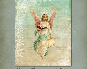 Vintage Angel Christmas Collage Large Printable Digital Download