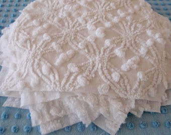 SALE 15% - Vintage Chenille Fabric Quilt Squares - 10 at 9 inch ALL WHITE, all different - 500-60