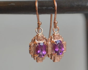 SALE Gotham Dangly Earrings in 14 K Rose Gold, Hand Engraved with Oval Grape Garnet