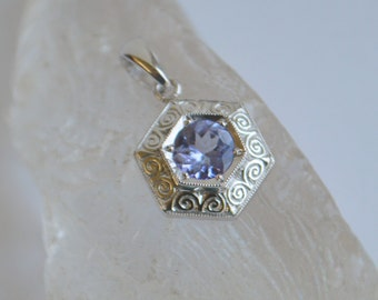 White Gold Engraved Pendant, hexagon engraved necklace, hand engraved pendant, blue gemstone jewelry, tanzanite pendant, gifts for moms