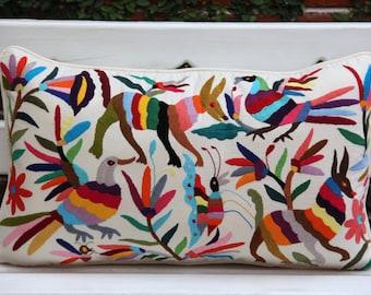Multi Colored Lumbar Hand Embroidered Otomi Cushion Sham