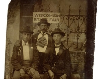 Three Men at the Wisconsin State Fair. Antique Tin Type Photograph. Wonderful Historic Image.Americana Turn of the 20th Century. Circa 1890